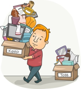 Man Organizing His Things