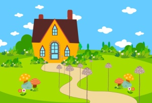 cute house bacground with mushroom