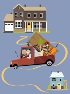 Senior couple moving their belongings from a big family house into a smaller home, EPS 8 vector illustration