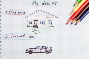 My, dream own house, personal car, text and drawing on notepad, color pencils. concept of visualization future