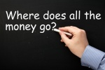 Writing Where Does All the Money Go? on a blackboard